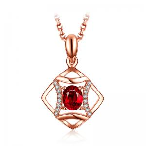 China Ruby And Diamond Pendant Necklace , Authentic Ruby Necklace For Women Jewelry on sale