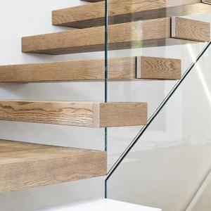 Modern Hidden cantilever stairs floating stairs with wooden tread