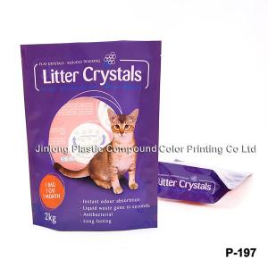 China Stand Up Cat Litter Bags With Bottom Gusset / Resealable Zipper on sale