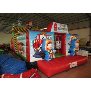 China Inflatable Rescue Fire Truck Bouncy Castle Obstacle Course , Obstacle Course Jump House on sale