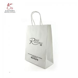 China CMYK Printing Recyclable White Paper Gift Bags With Handles 210gsm on sale