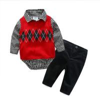 China Breathable Cute Newborn Baby Clothes Kids Sweater Clothing 3pcs Birthday Dress on sale