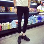 100 Percent Polyester / Cotton Mens Black Straight Leg Jeans With Holes Anti Shrink