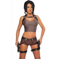 Hero Costumes Wholesale PVC Spandex Sexy Adventurer Costume with size S to XXL