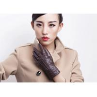 China Autumn or Winter Use Warm Women's Leather Gloves With Embroidery Cuff on sale