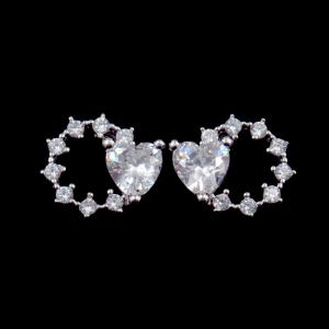 China 925 Sterling Silver Multi Color CZ Heart Shaped Earrings Jewelry Eco - Friendly on sale