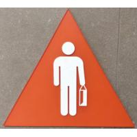 """Triangle 10.4""""X9"""" Braille Toilet Signs 1/4"""" Clear Acrylic Face Panel Straight Edge"""