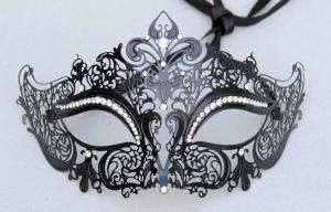 China Custom Mens Luxury Fashion Metal Masquerade Mask With Crystal on sale