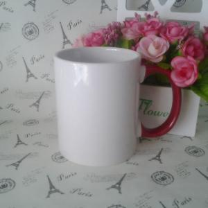 China color handle ceramic mug,red handle mug on sale