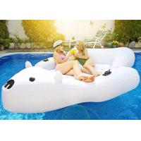 Giant Polar Bear Pool Float Swim Lounger Floating Island Raft with Cupholders