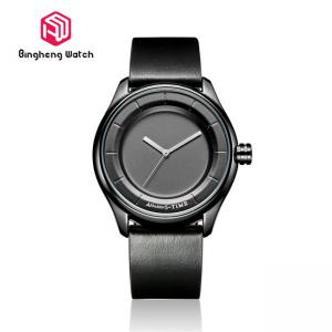 China Elegant Mens Black Leather Watch , Wateproof Men'S Quartz Wrist Watch on sale
