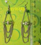 Green hand-cut crystal beads + plating chain tassel earrings ear jewelry
