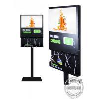Floor Standing Mobile Phone Charging Station Advertising Display For Airport / Restaurant / Bar