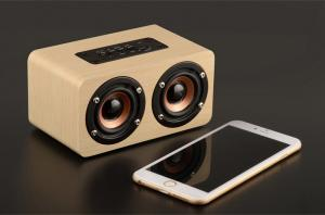 China Mini Wood Bluetooth Speaker Cabinet , 10W Portable Wireless Wooden Sound Box on sale