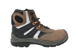 China Breathable Camel High Cut Work Boots , Waterproof Steel Toe Boots For Wide Feet on sale
