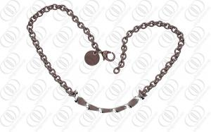 China Coffee Grey Plated Stainless Steel Pendant Necklace With Silver Accents on sale