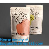 Biodegradable Foil Packaging Soft Zipper Stand Up Bottom Gusset Plastic Drinking Pouches Bags With Straws