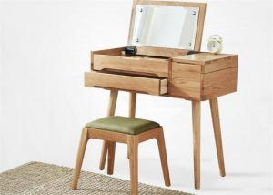 China Light Wood Teenage Solid Wood Dressing Table Set With Mirror High Grade on sale