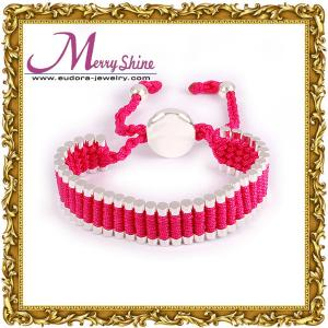 China 2012 lovely pink links friendship bracelets handmade jewelry of thick silver plating LS023 on sale