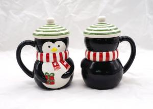China Christmas Black 3D Penguin Mug / 3D Coffee Cup Multi Functional With Lid on sale