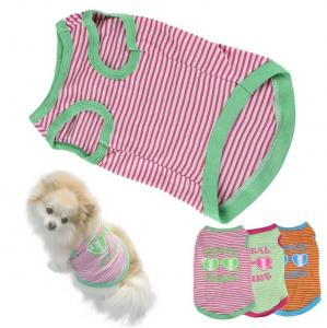 China cheap stripe Pet Puppy Summer Shirt Pet Clothes T Shirt with printing on sale