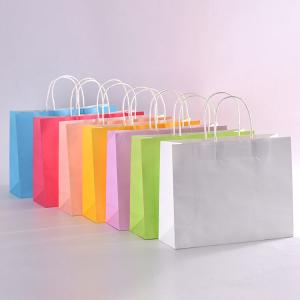 China Customized Size Coloured Kraft Paper Bags , Brown Paper Gift Bags Eco - Friendly on sale