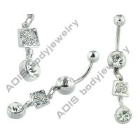 Crystal Star Long Dangle Belly Rings Stainless Steel Unique Belly Button Rings