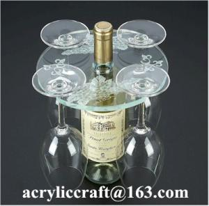 China Personalized Engraved Transparent Round Acrylic Four Wine Glass Holder on sale