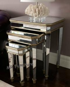 Quality 3 Set Mirrored Side Tables For Bedroom , Silver Modern Mirrored Furniture for sale