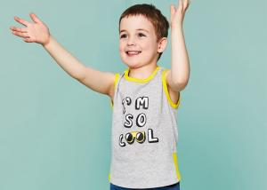China Summer Cotton Sleeveless Children's Clothing Custom Printed T - Shirt Casual Vest on sale