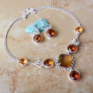 China Fashion Stone Choker Necklace Earrings Party Jewelry Set on sale