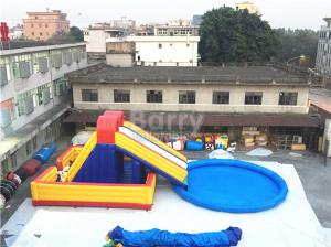 China Amusement Inflatable Backyard Water Park , Inflatable Slide With Pool on sale