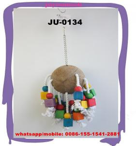 China Funny Coconut Shell Bird Pet Toys for small and medium Parrots Pigeon Macaw Bird Cages AdormentsJU-0134 on sale