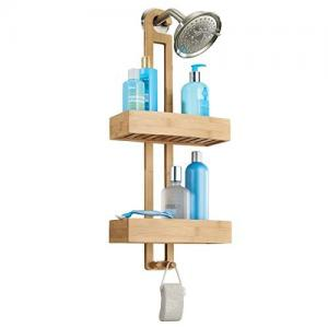 China Bathroom Bamboo Shower Caddy Over The Shower Head For Shampoo / Conditioner on sale