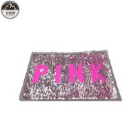 Pink Reverse Sequin Patch / Sequin Letter Patches Durable Cutomized Logo