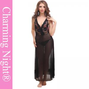 China Backless Sexy Long Lingerie For Mature Women And Young Girls , long black nightie on sale