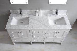 China Nature White Marble Bathroom Countertops , Marble Island Countertop With Oval Sink on sale