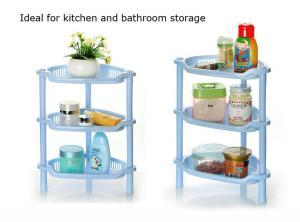 China 3-tier home storage & organization kitchen spice jar rack bathroom corner shelf plastic bath rack bathroom organizer on sale