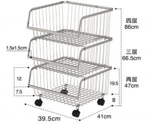 China Stackable Rolling Steel Rack With Wheels , Metal Stainless Steel Kitchen Storage Shelves on sale