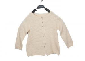 China Autumn White Round Neck Kids Cardigan Sweater With Button For Girls In 12 Gauge on sale