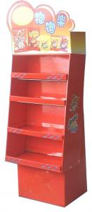 China Ivory Board Colored Cardboard Display Stands 4 Tile Durable for Promotional Kids Snacks on sale