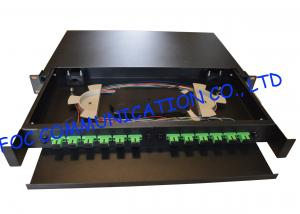 China Drawer Type Fiber Optic Distribution Box 1U 12Ports Full Loaded With SC Pigtail on sale