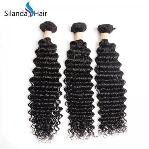 China Deep Wave #1B Brazilian Remy Human Hair Weave on sale