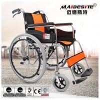 China Comfortable Aluminium Folding Wheelchair Skid Proof Handle Brake / Rear Brake on sale