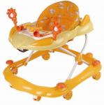 Lujo que dobla seguridad ajustable del caminante del bebé con las ruedas, anaranjadas