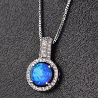 Fashion Design Synthetic Roudn Opal Box Chain Brass Silver Necklace