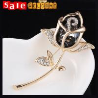 Flower Rose Golden Brooch,Dress Scarf Accessories Crystal Black Brooches Pin for Women