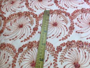 China Crystal Flower Embroidery Beaded Bridal Lace Fabric For Wedding Dresses 125cm Width on sale