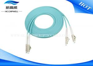 China LC / UPC OM3 Optical Fiber Patch Cord , Blue Ground Simplex Fiber Optic Cable on sale
