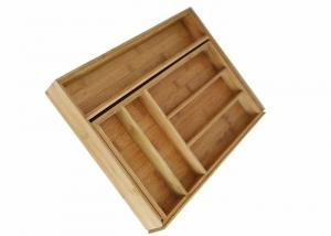 China Natural restaurant bamboo kitchen expandable utensil tray drawer organizer on sale